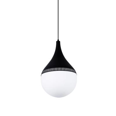 Black Teardrop Hanging Light Kit Modern 1 Head Cream Glass Suspended Pendant Lamp