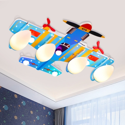 Blue Bullet Flush Lighting Cartoon 4-Bulb Acrylic LED Ceiling Mounted Lamp with Airplane Canopy