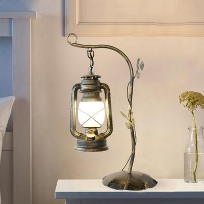 Brass Kerosene Table Light Coastal Frosted Glass 1-Light Bedroom Desk Lamp with Curvy Arm