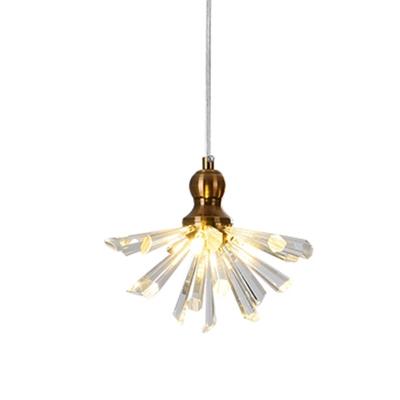 Burst Dining Room Chandelier Light Art Deco Crystal Bar 3-Light Gold Hanging Lamp Kit