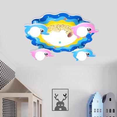 Cartoon Dolphin Flush Mount Fixture Metallic 4-Head Kids Room LED Flush Ceiling Lighting in Blue