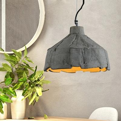 "Cement Barn/Dome Drop Pendant Light 1-Head 6""/12"" Wide Industrial Hanging Lamp Fixture in Grey, HL614364"