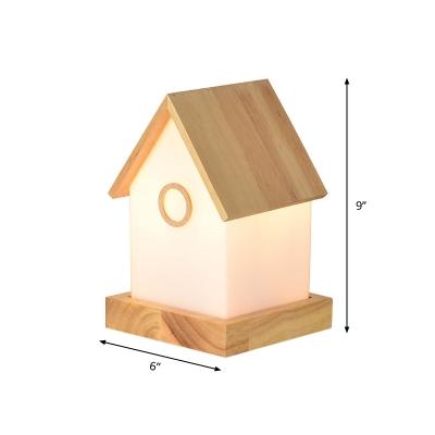 Cream Glass Cabin Small Table Lamp Nordic Single Wooden Nightstand Light for Bedside