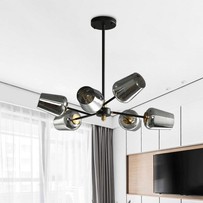 Cup Shaped Pendant Chandelier Modern Clear/Smoke Gray Glass 6/9 Lights Bedroom Hanging Lamp in Black