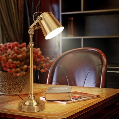Metallic Gold Finish Reading Book Light Barrel 1 Head Industrial Desk Lamp with Rotatable Handle