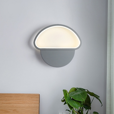 Modernist Mushroom Shaped Sconce Light Fixture Acrylic Bedroom LED Wall Mounted Lamp in Grey