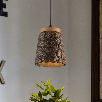 1 Head Cup Hanging Light Kit Antiqued Dark Grey/Light Grey/Bronze and Wood Cement Pendant Lamp with Lumpy Design
