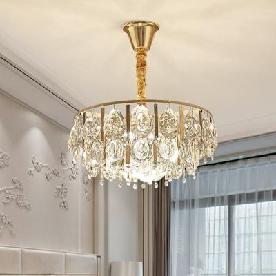 3/4 Bulbs Pendant Chandelier Modernist Teardrop Beveled Crystal Hanging Light Kit in Gold, HL615908
