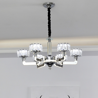 3/6 Bulbs Drum Ceiling Chandelier Traditional Chrome Clear Crystal Block LED Hanging Light Kit