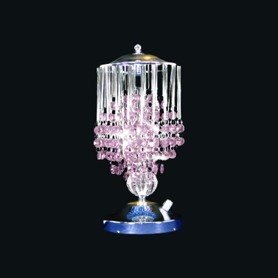 Contemporary Tassel Night Table Light 1-Light Crystal Ball Nightstand Lamp in Pink/Yellow/Blue