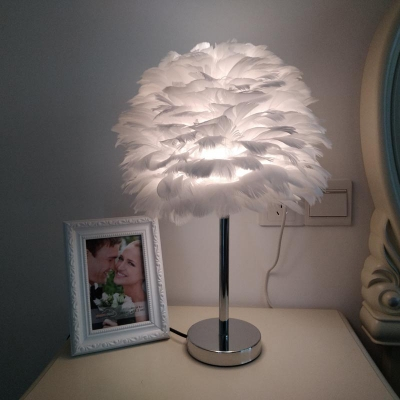 Feather Fabric Night Table Light Modernist 1 Light White/Pink/Grey Desk Lamp with Chrome Metal Base