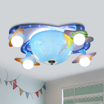 Kids 4 Heads Flush Light Fixture with Acrylic Shade Blue Globe LED Flush Mounted Lamp in White/3 Color Light