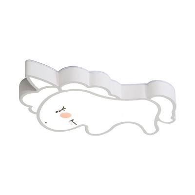 LED Bedroom Flush Lighting Cartoon White Flush Mounted Lamp with Unicorn Acrylic Shade