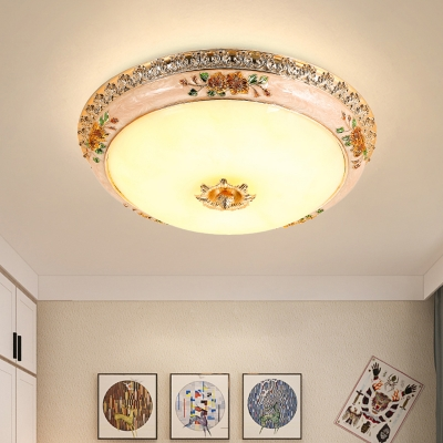 LED Flush Mount Country Style Bowl Shade Opal Glass Close to Ceiling Lamp in Gold with Resin Petal Design