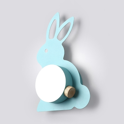 Rabbit Shape Wall Sconce Lighting Cartoon Metal 1 Head Blue/Pink Wall Lamp with Ball Shade
