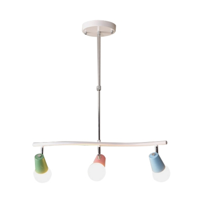 White Wavy Linear Island Pendant Light Macaron 3/4-Light Metal LED Hanging Lamp Fixture