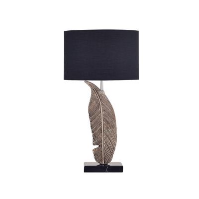 Black 1 Head Table Lamp Vintage Fabric Oval Nightstand Light with Feather Pedestal