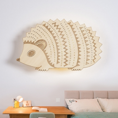 Cartoon Hedgehog Shape Sconce Light Wood LED Indoor Wall Lamp Fixture in Beige, Left/Right