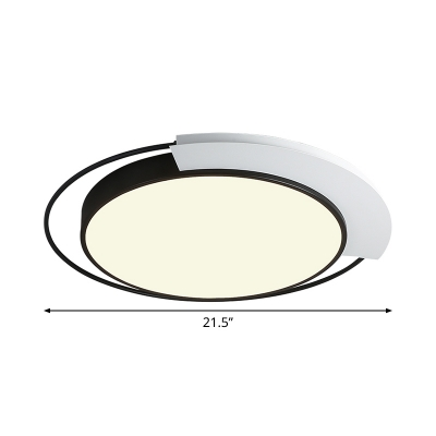 Contemporary LED Flush Light Black and White Round Flush Mount Ceiling Fixture with Acrylic Shade in Warm/White Light, 18