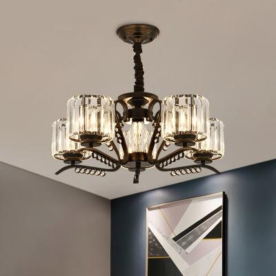 Crystal Block Black Suspension Light Cylinder 3/5 Lights Modern Chandelier with Gooseneck Arm