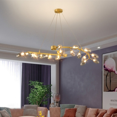 Grape Shape Chandelier Post-Modern Metallic 20-Head Dining Room Hanging Ceiling Light in Gold