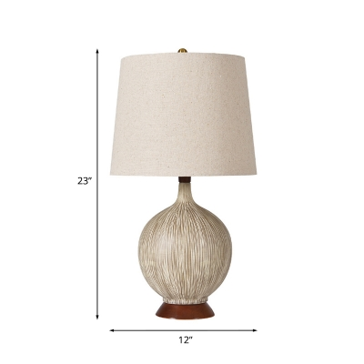 Sphere Ceramic Nightstand Lamp Farmhouse 1 Head Bedside Table Light with Barrel Lamp Shade in Flaxen