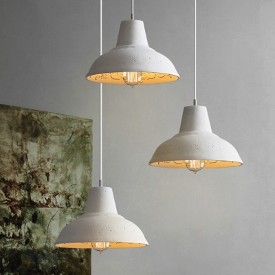 White/Grey Barn Pendant Lighting Industrial Cement 1 Bulb Coffee House Hanging Lamp Kit with Carved Inside, White;gray, HL614334