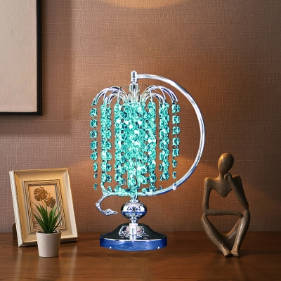 1-Bulb Wicker Shaped Night Lamp Contemporary Pink/Yellow/Blue Crystal Stand Night Table Light