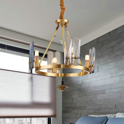 4-Bulb Ceiling Chandelier Minimalist Ring Metal Hanging Light Kit in Brass with Crystal Panel Detail, HL615647