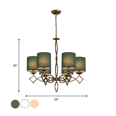 6 Bulbs Chandelier Pendant Light Countryside Cylinder Fabric Creative Suspension Lamp in White/Beige/Green