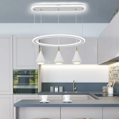 Acrylic Conical Suspension Lamp Modernist 3 Heads White Multi Light Pendant with Ring Design for Dining Room