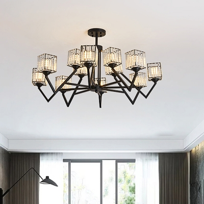 Black Cube Semi Flush Light Fixture Modern Crystal Block 12 Bulbs Living Room Flush Mount with V-Like Arm, HL615985