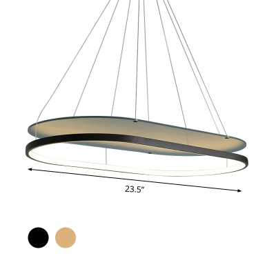 Black/Gold 2 Tiers Oblong Chandelier Lamp Minimalist Acrylic LED Hanging Pendant Light for Dining Room