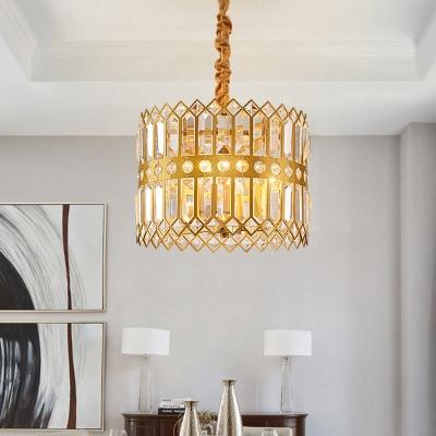 Crystal Encrusted Drum Chandelier Vintage 3/4 Heads Dining Room Ceiling Hang Fixture in Gold