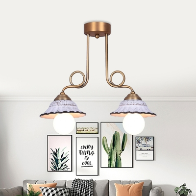 Flared Ceramic Semi Flush Mount Light Country Style 1/2/3-Bulb Dining Room Ceiling Lighting in Brass with Twisted Design