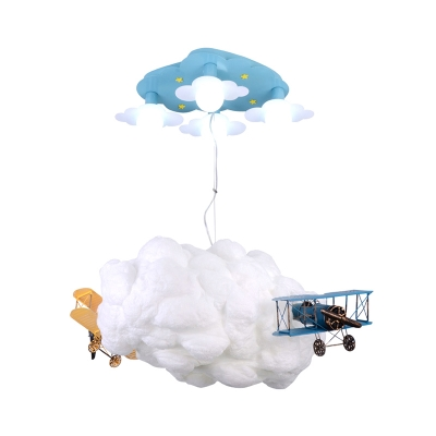 Kids 7 Lights Hanging Pendant White Cloud Wrapped The Plane Suspension Lamp with Cotton Shade