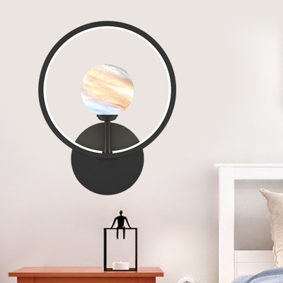 Loop Wall Light Fixture Nordic Metal LED Bedside Wall Mounted Lamp in Black/White/Pink with Planet Glass Shade