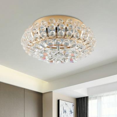 Modern Circle Ceiling Flush Mount LED Beveled Crystal Flush Mount Light Fixture in Gold