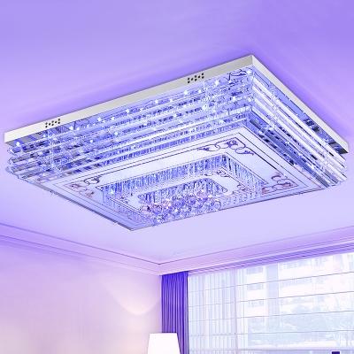 Rectangle Living Room Ceiling Fixture Modern Crystal Orb LED Chrome Flush Mount Lamp