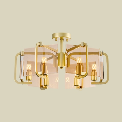 Rectangle Panel Tan Glass Semi Flush Modernist 6 Bulbs Gold Flush Mount Ceiling Light with Drum Design
