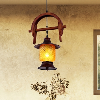 Retro Cylinder Pendant Light Fixture 1 Light Yellow Water Glass Ceiling Lamp with Curved Wood Deco in Red Brown, HL614058
