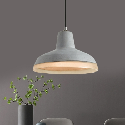 Beautifulhalo coupon: 1 Bulb Cement Pendant Light Fixture Antiqued Grey Cone/Bowl/Dome Bedroom Ceiling Lamp with Resin Detail