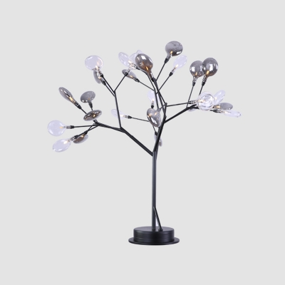 27 Bulbs Bedroom Nightstand Lamps Contemporary Black Metal Branching Table Light with Mini Clear and Grey Glass Shade