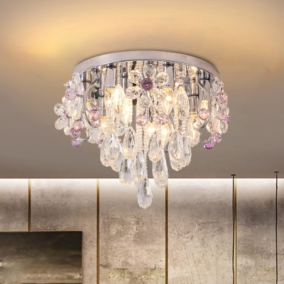 Antique Raindrop Flush Mount Lamp LED Clear and Purple Crystal Ceiling Light in Chrome