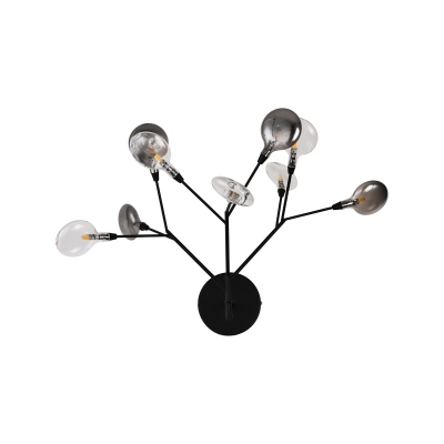 Branching Wall Lamp Contemporary Metallic 9 Heads Black Sconce Light Fixture with Smoke Grey and Clear Glass Shade