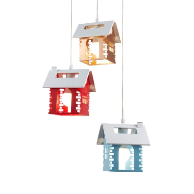 Cabin Cluster Pendant Light Cartoon Metal 3 Heads Nursery School Hanging Lamp in Red-Yellow-Blue