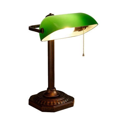 Green Glass Half-Cylinder Night Light Vintage 1-Light Bedside Table Lighting with Pull Chain
