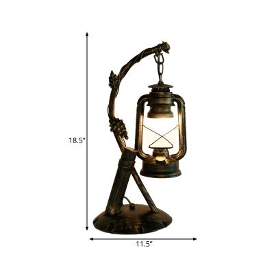 Opal Glass Brass Table Light Kerosene 1-Light Factory Style Desk Lighting with Angled Arm