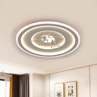 Round LED Ceiling Mounted Fixture Modernist Acrylic White Flushmount Lighting with Vivid Pattern for Living Room