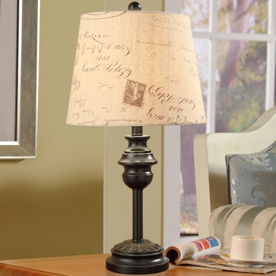 Taper Script Printing Fabric Table Lamp Rural 1 Bulb Living Room Night Light in Black